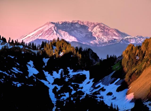 Mount St. Helens at sunrise from above Paradise, Mount Rainier