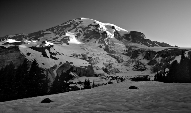 Mount Rainier Black and White at first light - Above Paradise