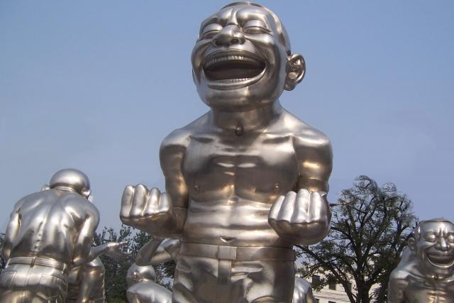 Funny metal people sculpture In Beijing China