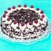 Black Forest cake on turquoise wood