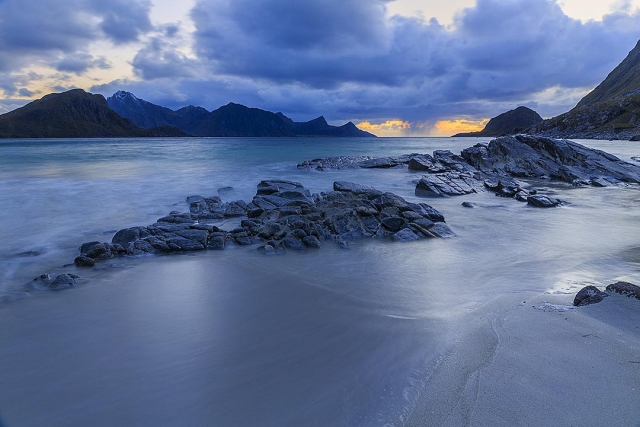Late evening On haukland beach