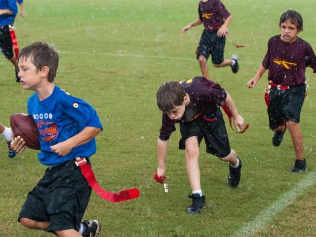 Flag football in the rain