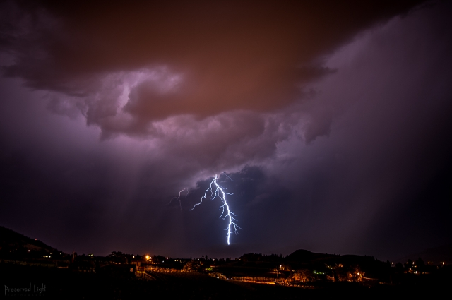 Lightning over Penticton, British Columbia.