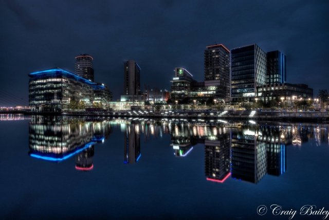Media city at night with a slight creative twist.