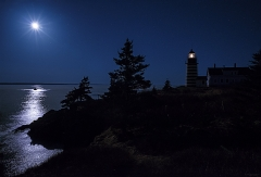 Moonlit Panorama West Quoddy Head Lighthouse