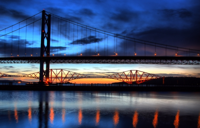 Sunrise at the Forth Bridges