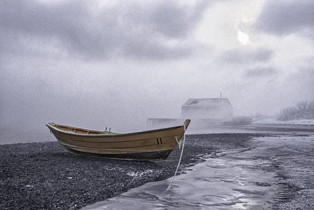 Beached Dory In Sub Zero Sea Smoke