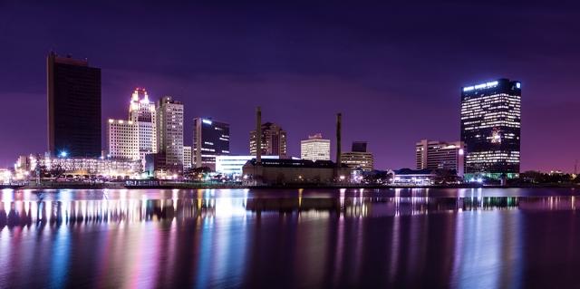 Downtown Toledo Ohio at night.
