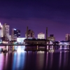 Downtown Toledo Ohio at night.