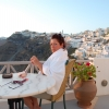 Morning coffee on Santorini