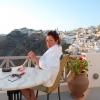 Morning coffee on Santorini